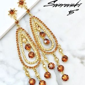 Swarovski Crystal Topaz Chandelier Event Earrings